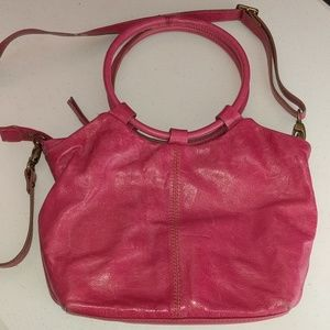 Hobo Distressed Pink Leather Crossbody Bag 12x8x2